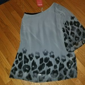 LuLus one shoulder grey and black animal print dre